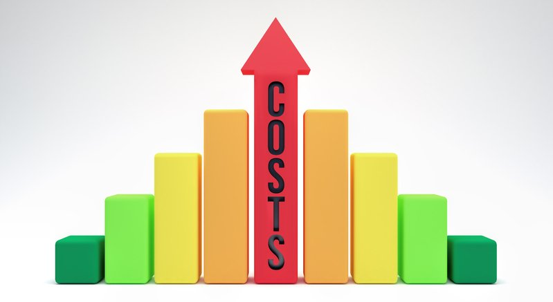 "Arrow pointing up with the word ""costs"" written on it representing the need for inflation protection"