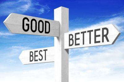 """White wooden signpost/ crossroads sign with three arrows - """"good"""", """"better"""", """"best""""."""