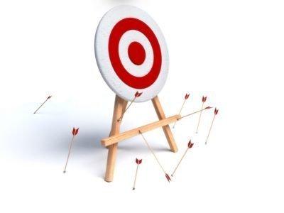 3d render of multiple arrows missing target