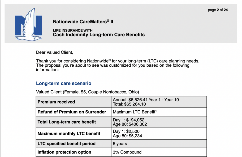 Nationwide CareMatters Quote compared to Lincoln MoneyGuard Quote